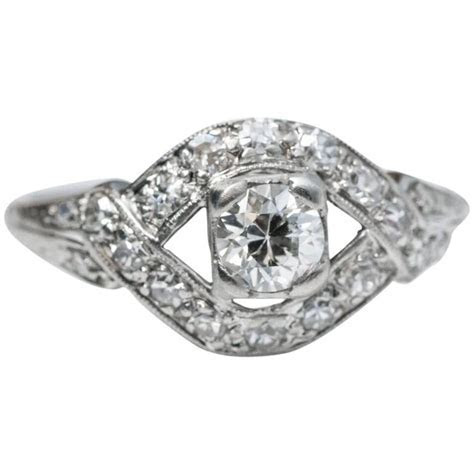1930s Platinum Diamond Engagement Ring with Unique