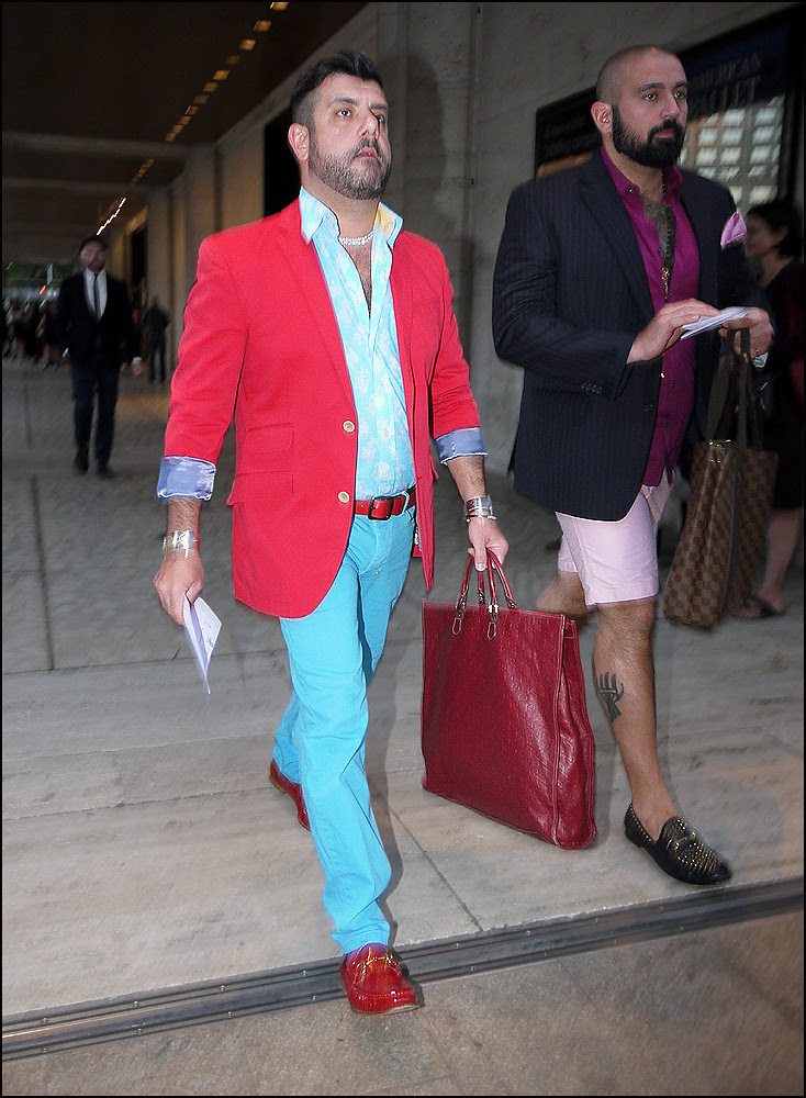 29 m2 bright red jacket bright blue pants blue and white print shirt purple shirt pink shorts louis vuitton bag ol