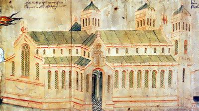 Bisham Priory as depicted in the Earldom of Salisbury Roll 1463