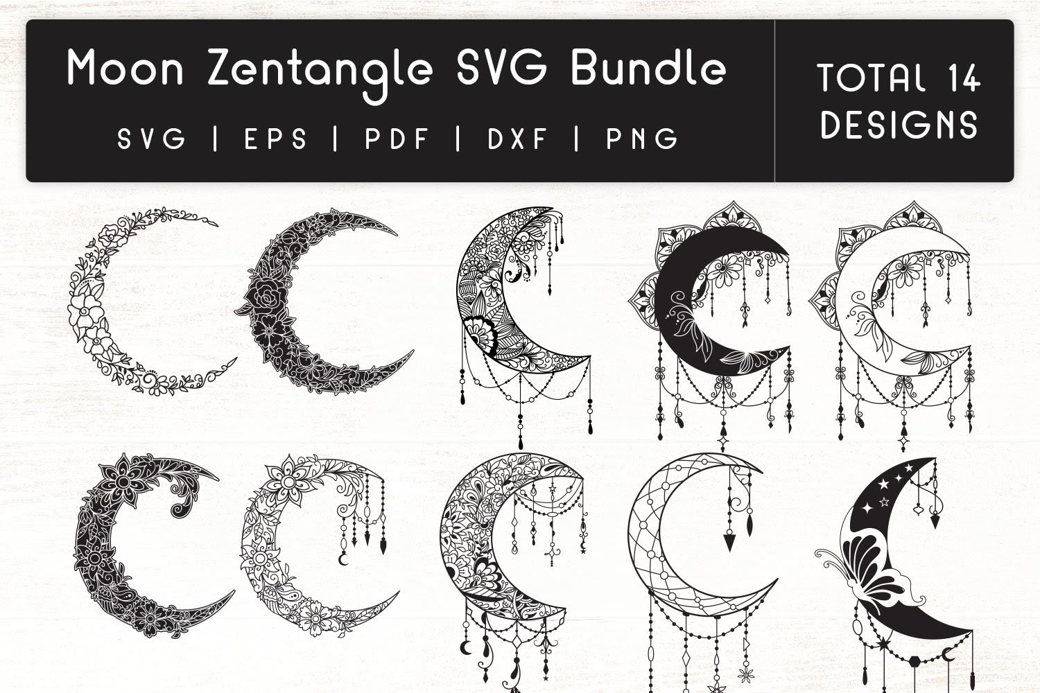 215+ Mandala Moon Svg – SVG,PNG,DXF,EPS include