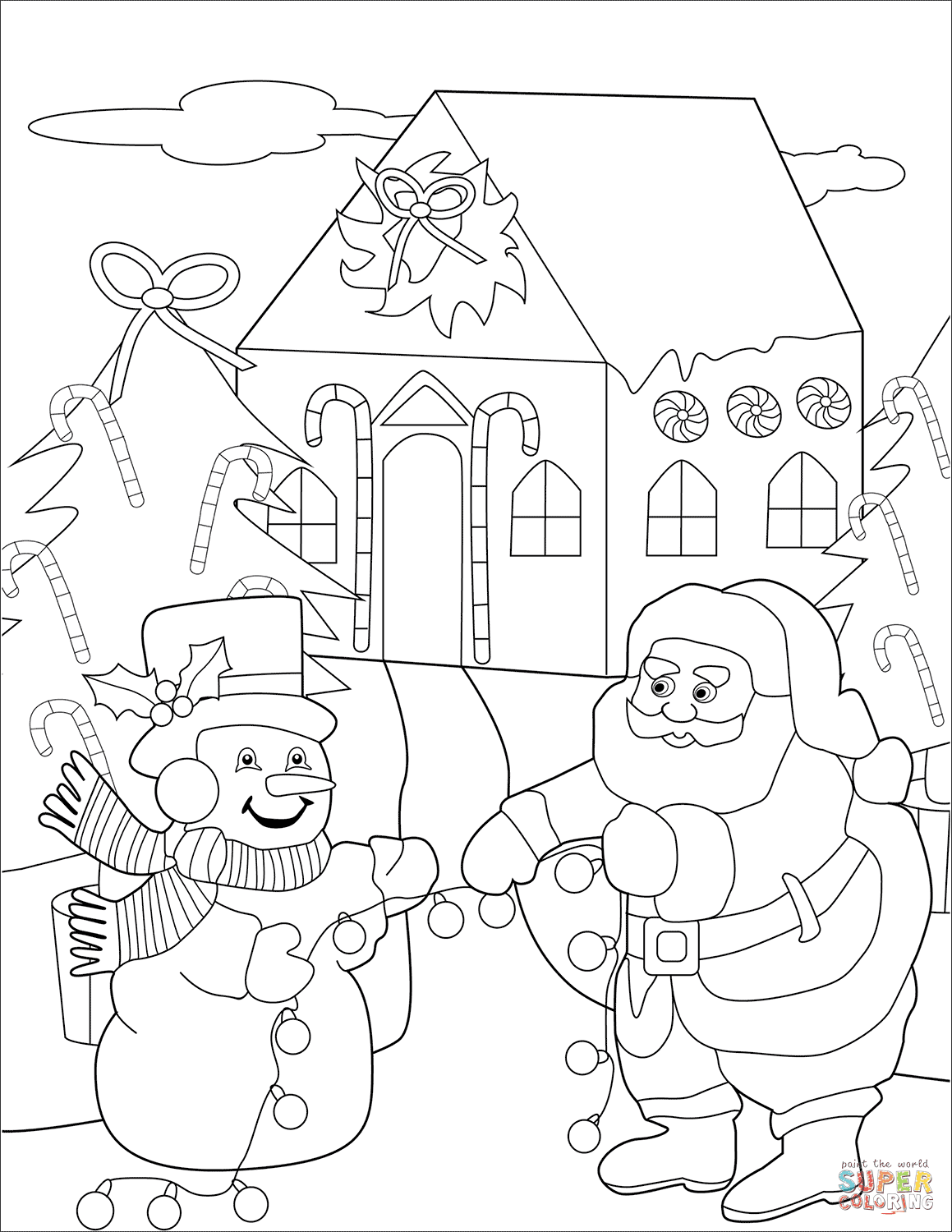 Snowman and Santa Preparing Christmas Trees with Baubles ...
