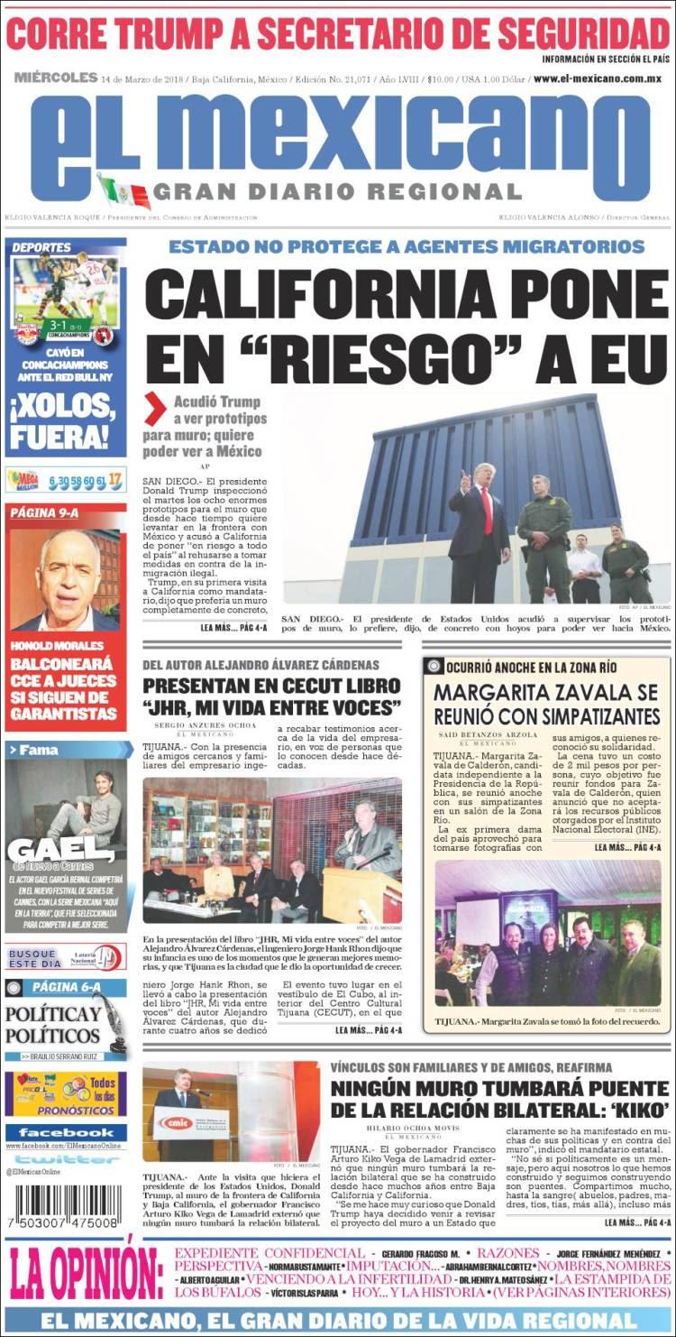 Portada de El Mexicano - El Gran Diario Regional (México)