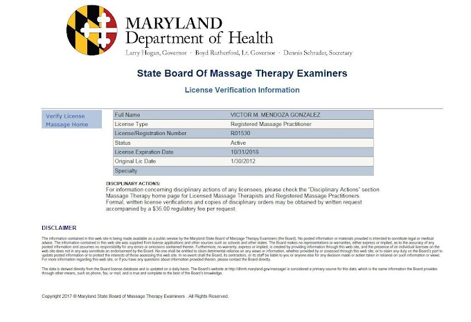 Massage Therapy License Lookup