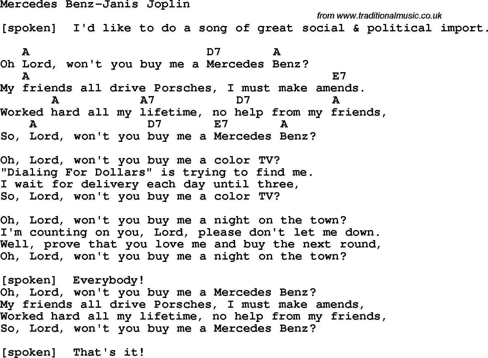 Protest Song Mercedes Benz Janis Joplin Lyrics And Chords