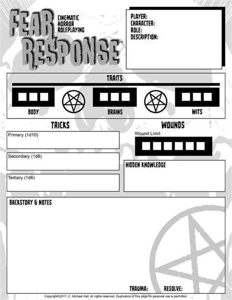 Character Sheet for Fear Response: Cinematic Horror