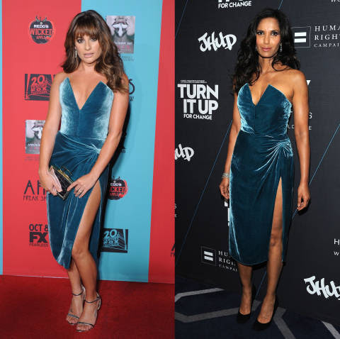 Luckily for these ladies, they weren't at the same event when they chose to wear this velvet Cushnie et Ochs gown. While both Lea and Padma opted for big hair to complement the strapless number, they went down a different route when it came to footwear - and Lea's slightly have the edge.