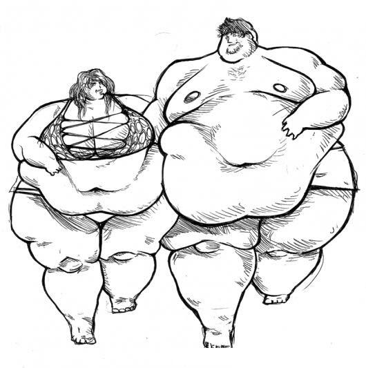Gorditos Dibujo De Pareja De Obesos Corriedo Juntos Para Pintar Y