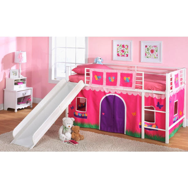 Essential Home Fantasy Loft Bed with Slide Collection - Flower ...