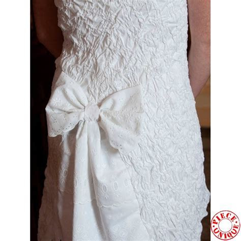 Short white wedding dress, strapless dress with big bow at