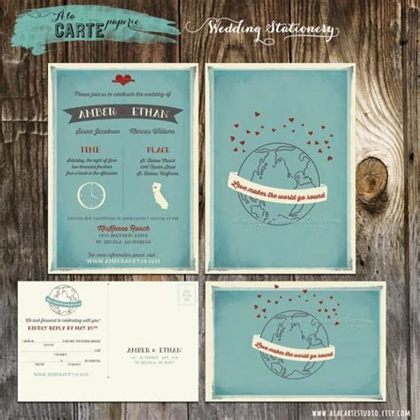 Love Makes The World Go Round Wedding Invitation And RSVP