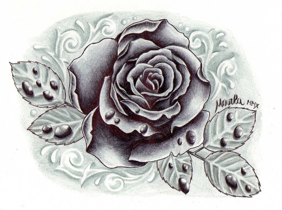 Black And Grey Rose Tattoo Drawing