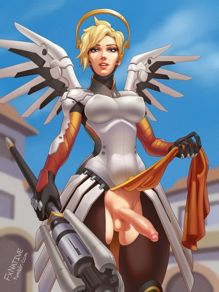 blonde hair breasts gray eyes mercy (overwatch) navel nude ...