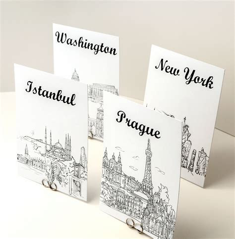 Wedding Table Cards   Travel Cities of the World   Bellus