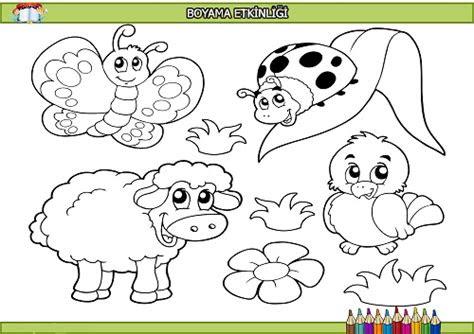 sevimli hayvanlar boyama etkinligi meb ders