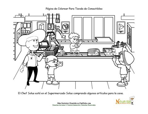 Diversión En La Tienda De Comestibles Hoja Para Colorear Del Chef