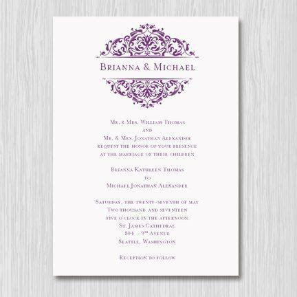 """Printable Wedding Invitation Template """"Grace"""" Plum Purple"""