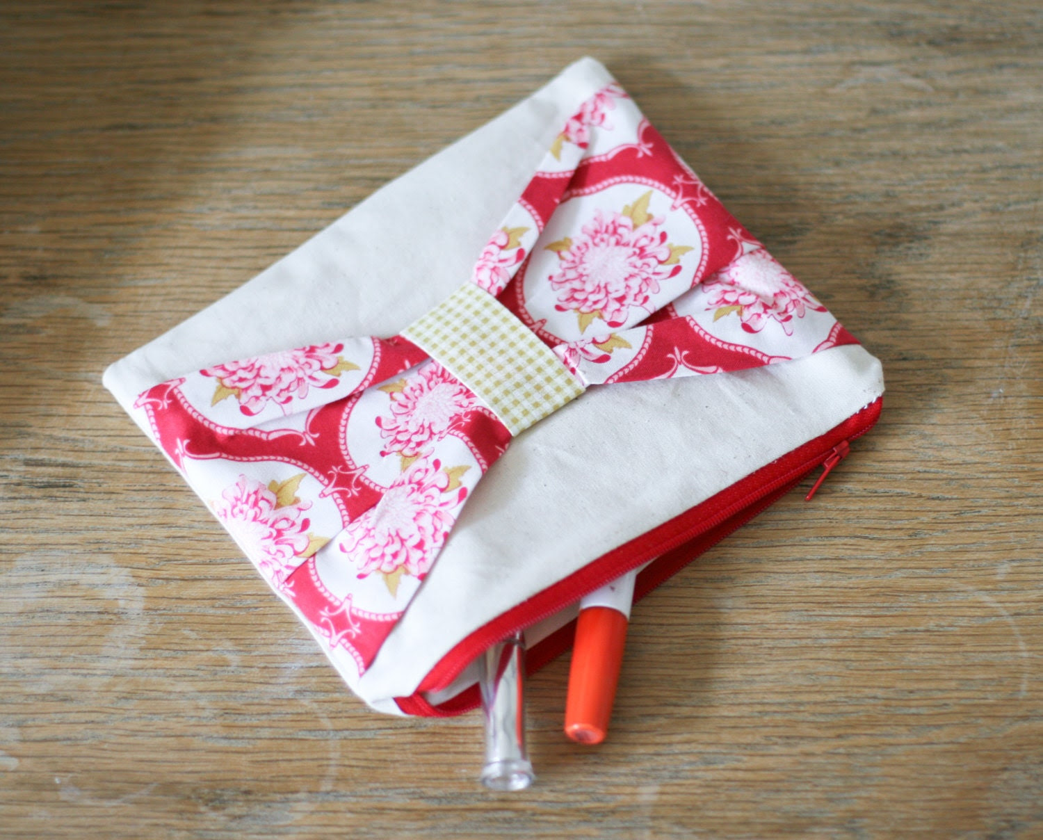 Shabby Chic Cosmetic Pouch Make Up Bag - Linen with Tilda Fabric Bow