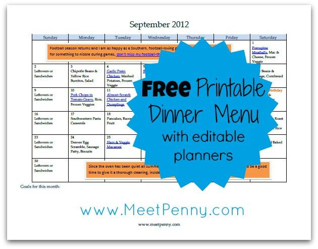 Free Printable September Menu (with Editable Planners) - Meet Penny