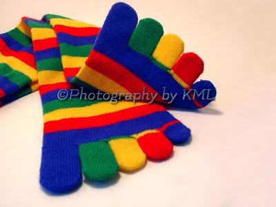 colorful striped toe socks