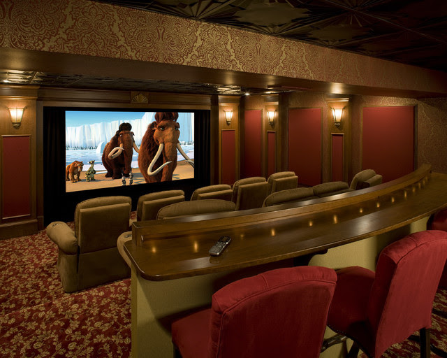 English Pub Home Theater - traditional - home theater ...