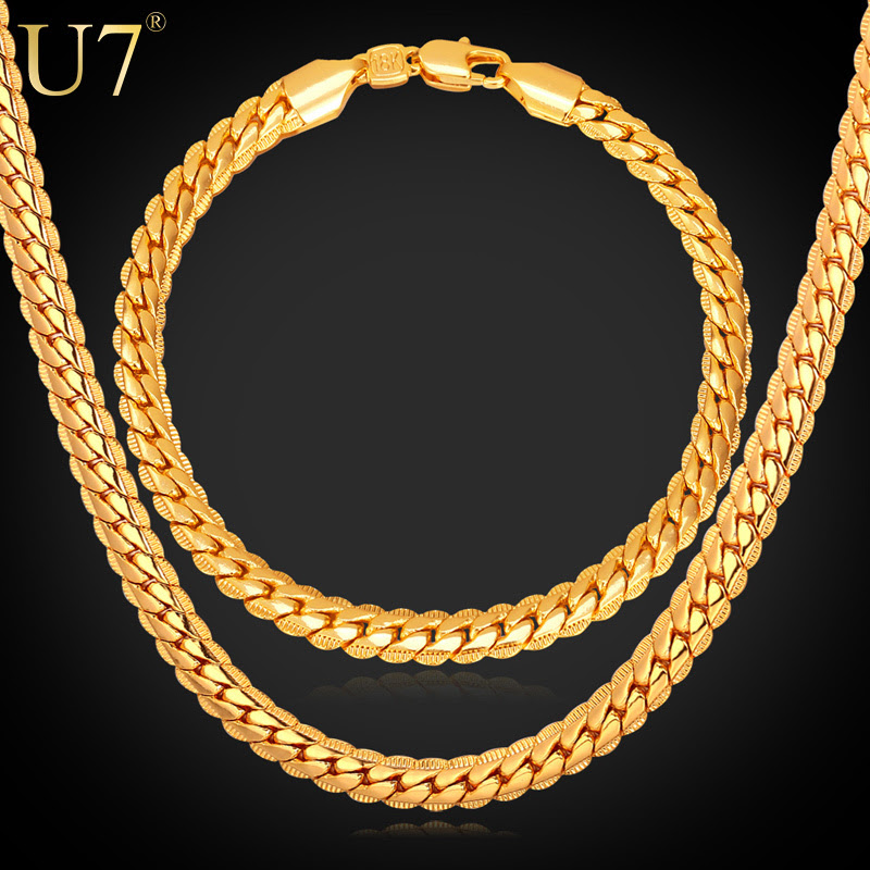 New Trendy 18K Stamp Necklace Set Men font b Jewelry b font Wholesale 18K Real Gold