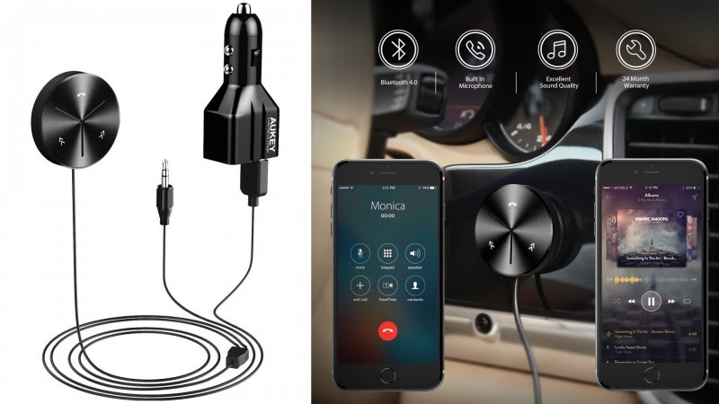 AUKEY Bluetooth Receiver Car Kit with 3-Port USB Car Charger