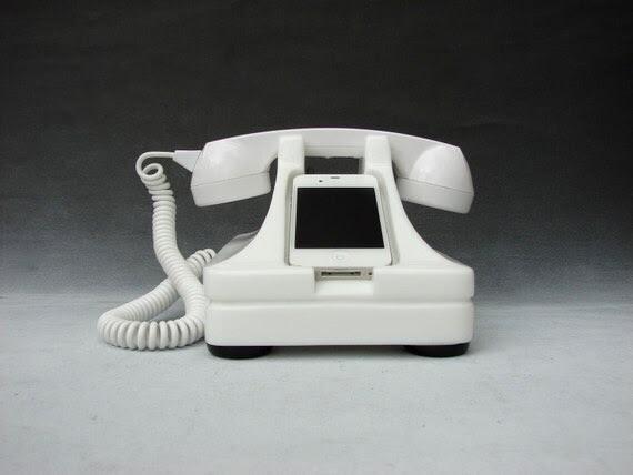 iRetrofone Classic White - iPhone phone stand