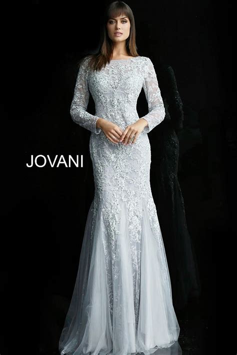 Silver Lace Long Sleeve Boat Neck V Back Fitted Evening Dress