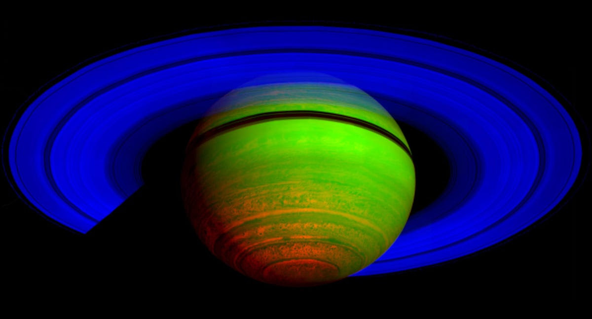 Near-infrared photos revealed Saturn in a whole different light. (This image is colorized to highlight different wavelengths.)