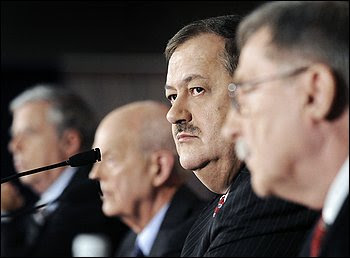 Massey Energy chief executive Don Blankenship, second from right, and board directors speak in Charleston, W.Va., about the Upper Big Branch mine explosion. They said they still do not know the cause.