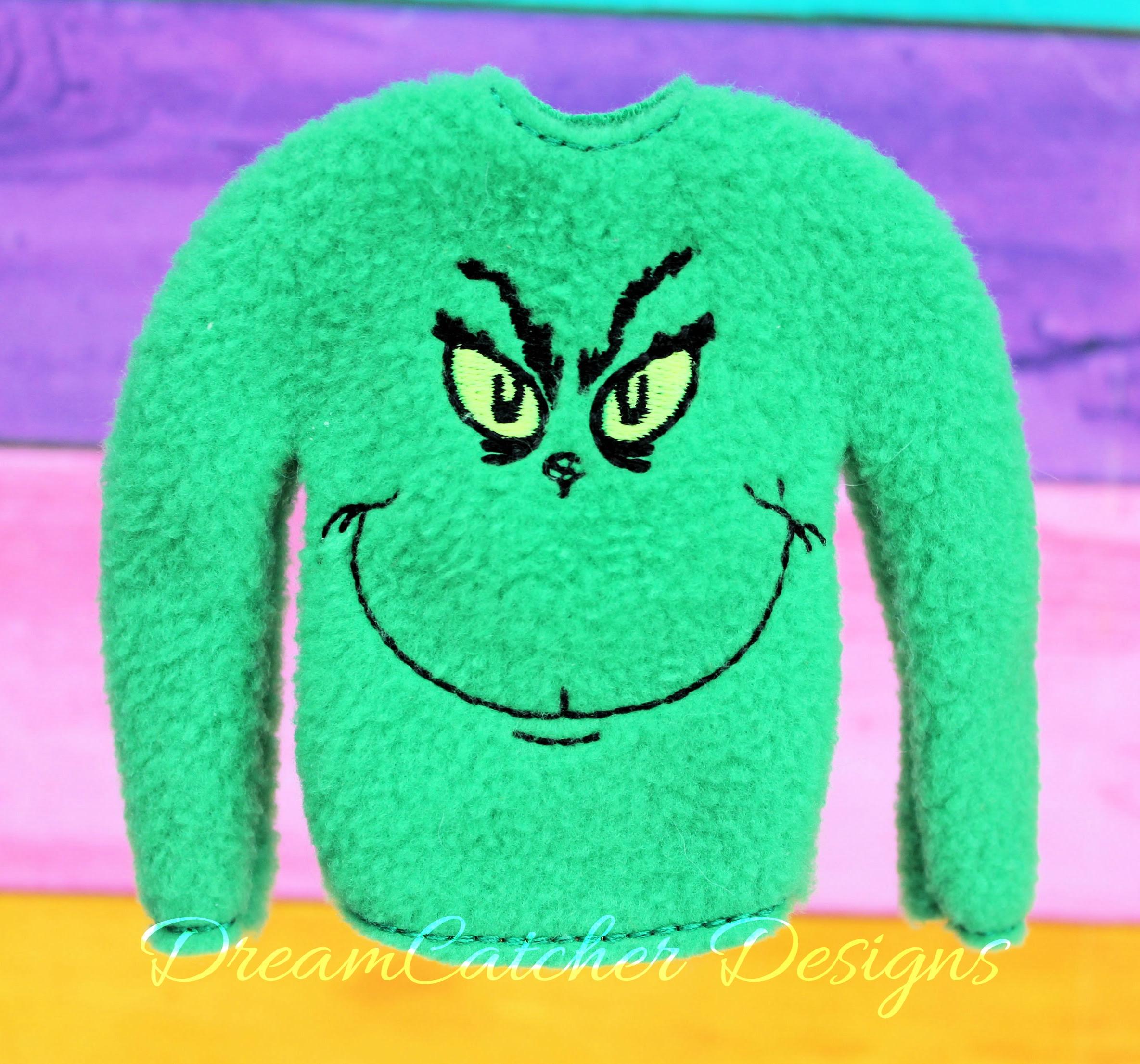 In The Hoop Green Monster Holiday Sweater Elfdoll Christmas