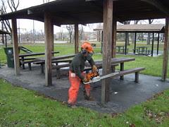 James cutting down a pavilion