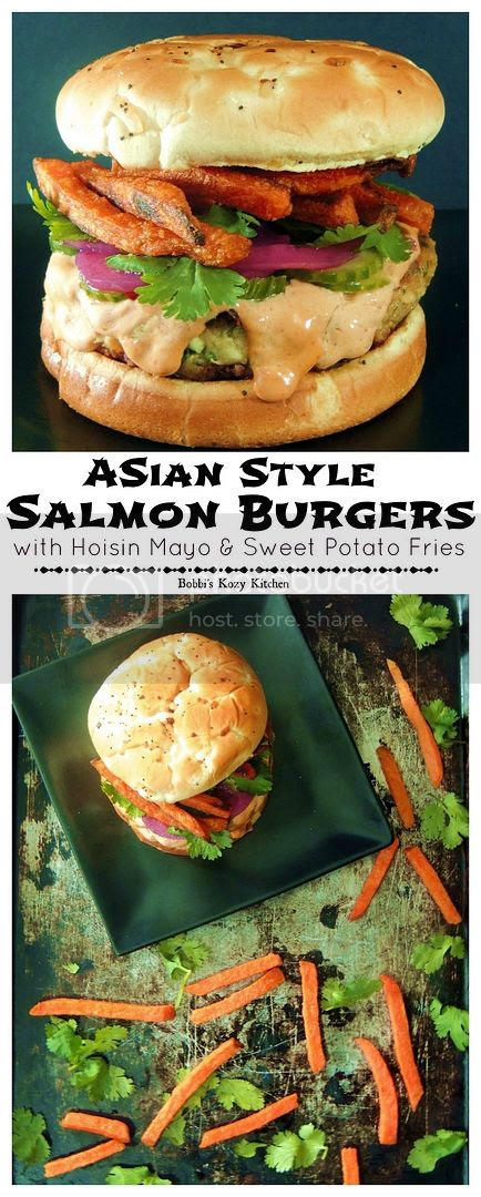 Asian Style Salmon Burgers with Hoisin Mayo and Spicy Sweet Potato Fries - Asian flavors come together to make this salmon burger light and bright and simply irresistible!
