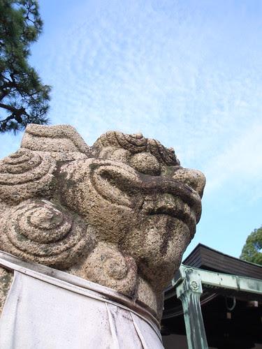 Stone guardian dog