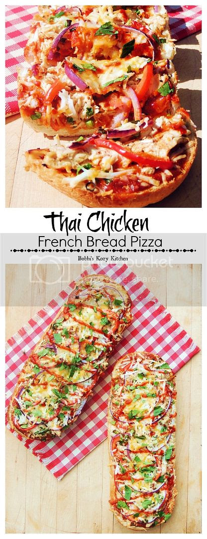 Thai Chicken French Bread Pizza - Sweet and spicy, this Thai Chicken pizza will tantalize your taste buds and make family movie night a gourmet affair. | From www.bobbiskozykitchen.com