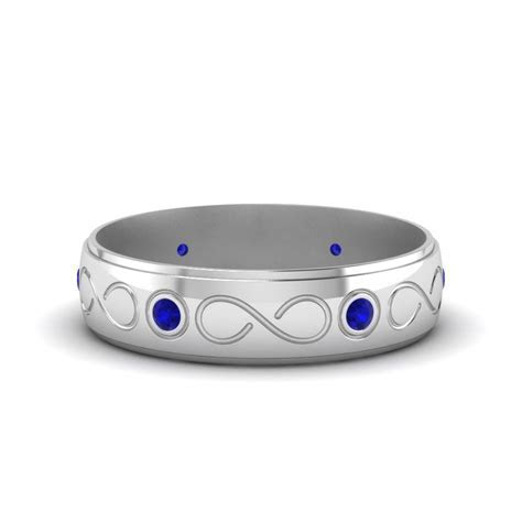14K White Gold Blue Sapphire Men's Wedding Band