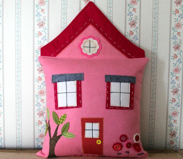 Pink House PIllow
