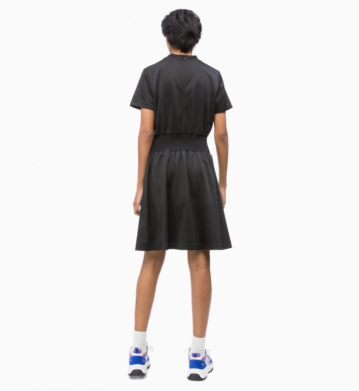 eng anliegendes ausgestelltes kleid aus jersey mit mesh black | calvin  klein damen kleider
