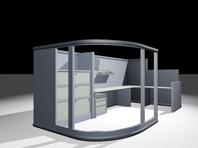 Office Furniture Cubicle Workstation 3d model 3ds Max ...