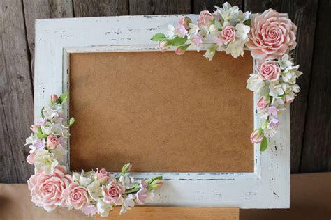 Wedding frame for wedding photo. Polymer clay flower