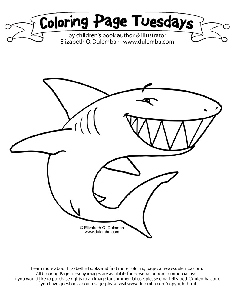 dulemba: Coloring Page Tuesday - SHARK!