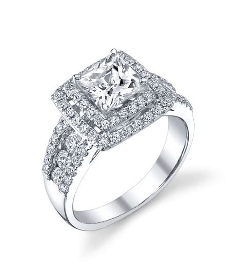 Double Halo Princess Cut Engagement Ring   Indianapolis Rings