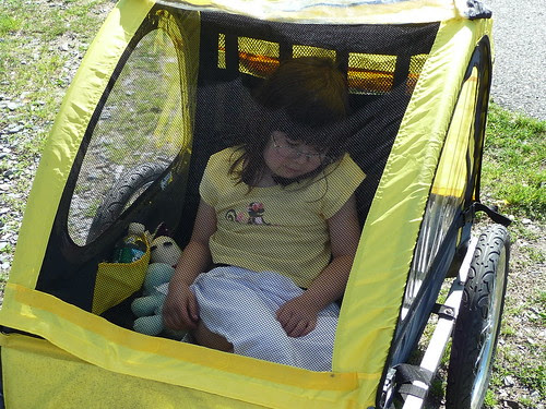 Dova sleeps in the trailer