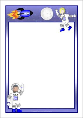 Astronaut A4 page borders (SB10636) - SparkleBox   Bordas/molduras ...