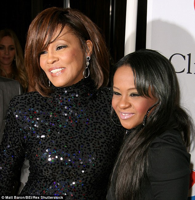 Mother and daughter: Bobbi Kristina passed away at Peachtree Christian Hospice in Georgia on Sunday - just three years after her mother, singer Whitney Houston died aged 48 in a bathtub at a hotel in Beverly Hills