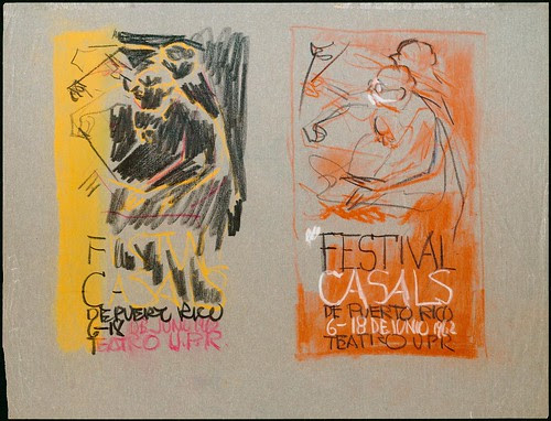 Festival Casals - Studies for posters, conductor designs (one orange, one red)
