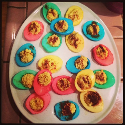 My first ever attempt at deviled eggs! I'm pretty sure the Hubster is going to be one happy man in the morning!! #easter #deviledeggs #hubster