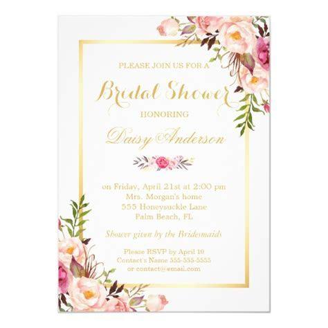 Wedding Bridal Shower Chic Floral Golden Frame Card