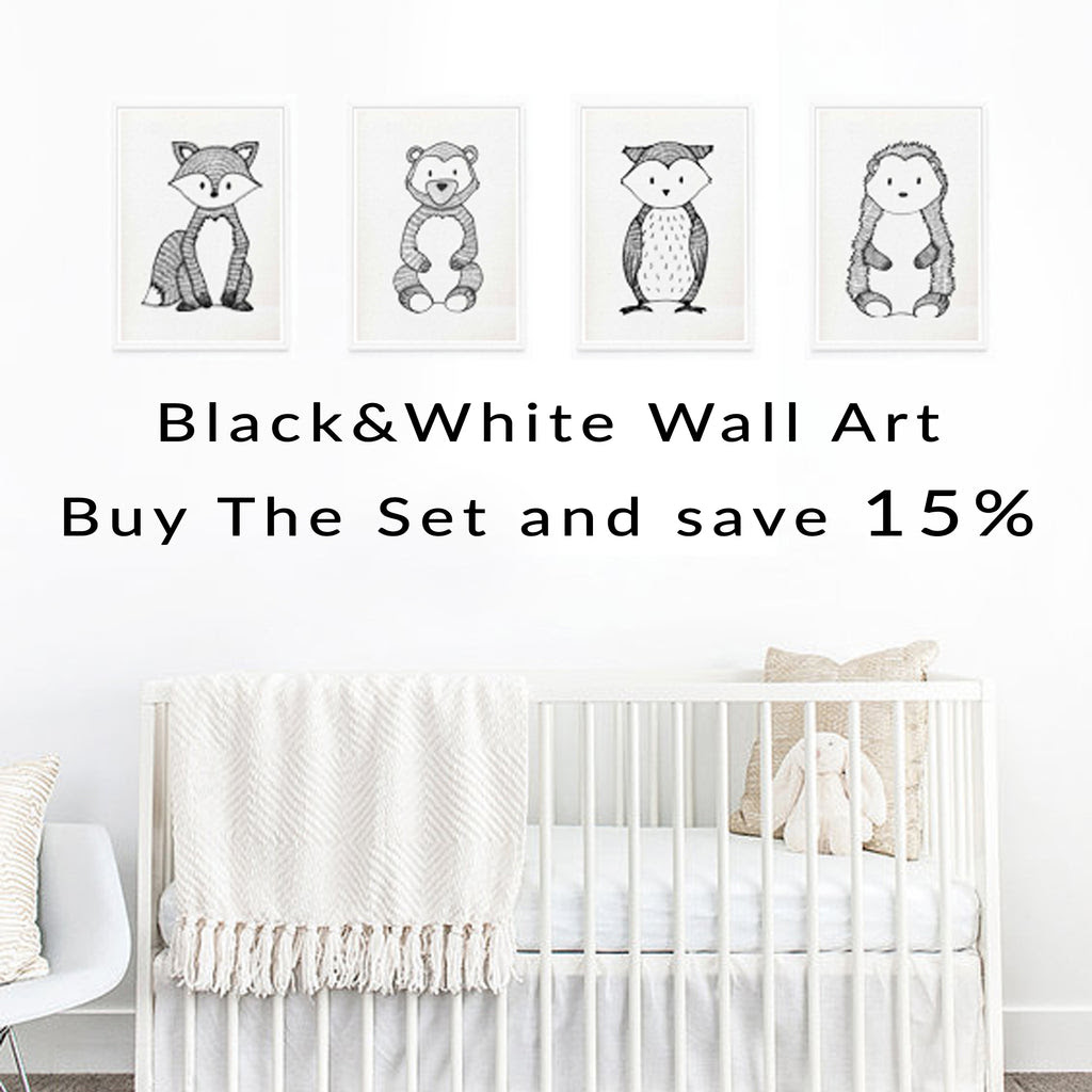 15off Black White Woodland Animal Wall Art Prints Boy Nursery