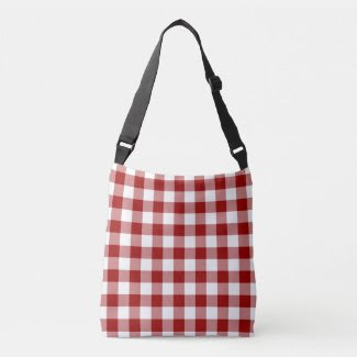 All-Over-Print Red and White Gingham Pattern Tote Bag